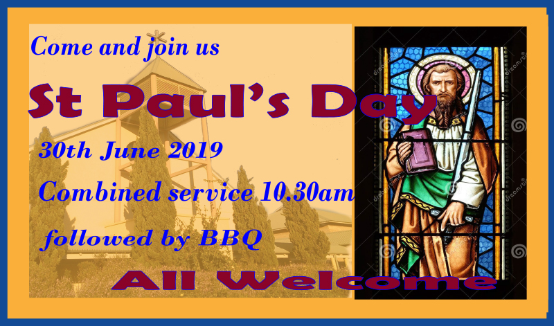 Combined Service 30th June 10.30am followed by BBQ