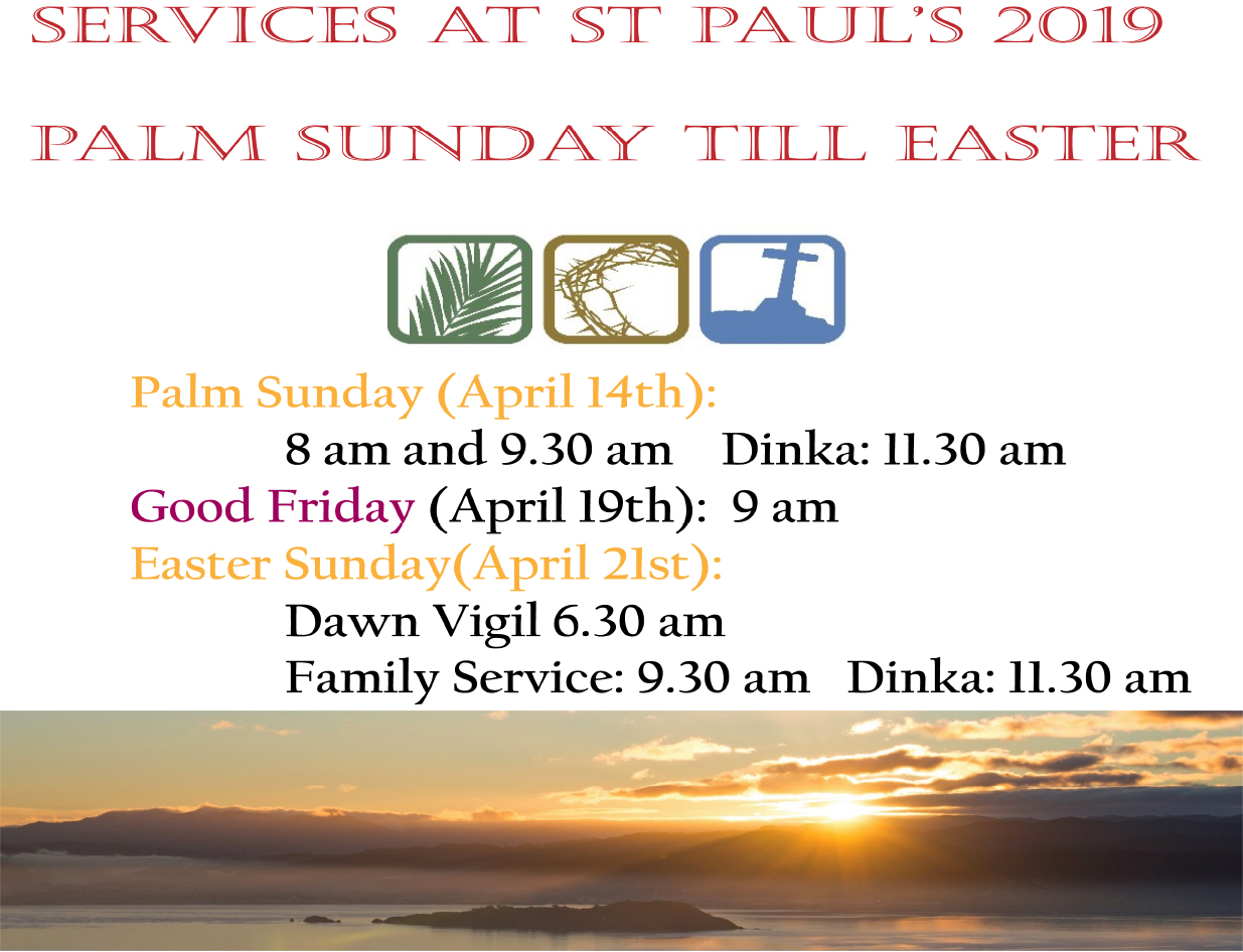 Service Times for Holy week
